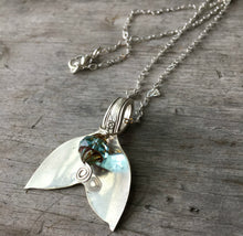 Ocean Whale Tail Spoon Necklace with Czech Glass Bead