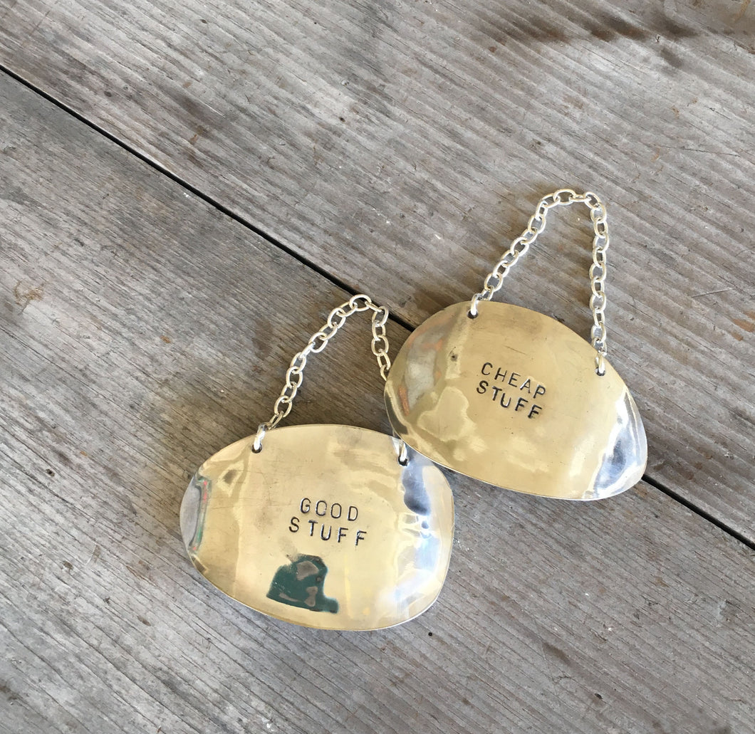 Wine tags made from vintage silverplate spoon