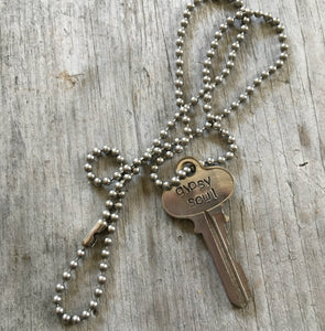 upcycled key necklace stamped with gypsy soul