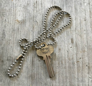 recycled key necklace HAND stamped with gypsy soul