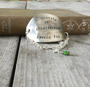 Stamped Spoon Bracelet Creativity is Intelligence Having Fun green bead