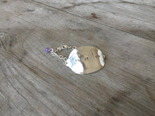 Stamped Spoon Bracelet Love is Love with lavender glass bead