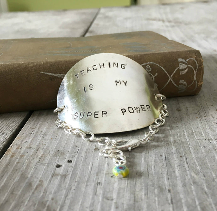 Stamped Spoon Bracelet Teaching is My Super Power with Yellow Bead