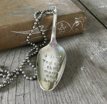 Silverware necklace from vintage silverplate spoon handstamped