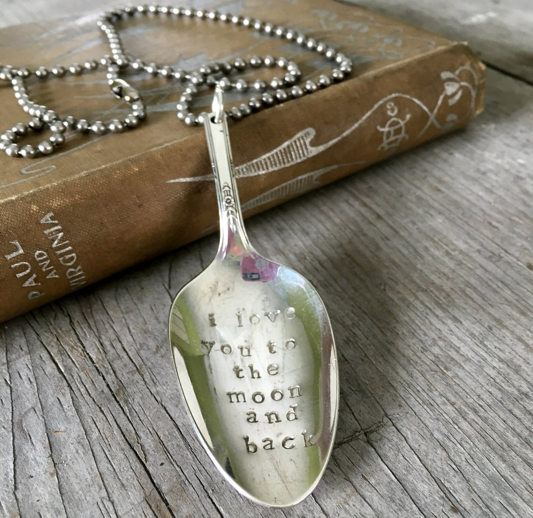 Stamped spoon necklace I love you to the moon and back