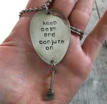 Stamped Spoon Necklace - KEEP CALM AND CONJURE ON - #1842