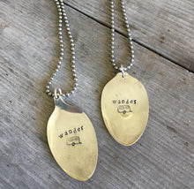 Stamped Spoon Necklace Wander with Airstream Trailer