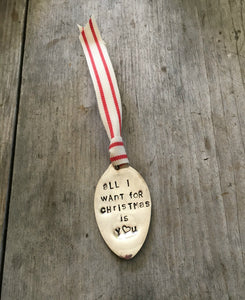 Upcycled Silverware Spoon Ornament Hand Stamped