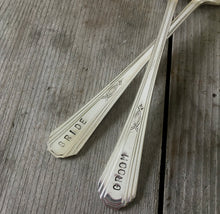 Closeup of the handstamping on the Paris Bride and Groom Wedding Cake Forks