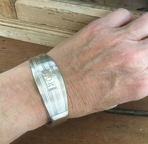 UPcycled Sterling Napking Ring Cuff Bracelet Shown on Model