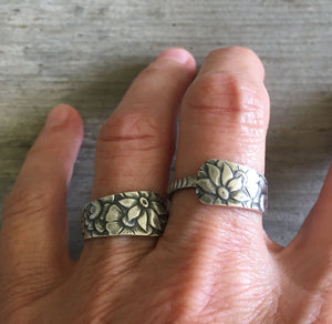 Sterling Spoon Ring Gorham Dehli Shown on Model