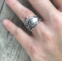 Ornate Size 8 Sterling Silver Coil Wrap Spoon Ring Josephine Pattern Shown on Model