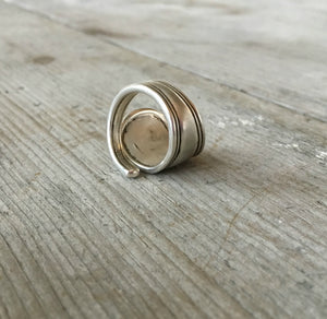 Alternate angle of coil wrap spoon ring from vintage sterling spoon