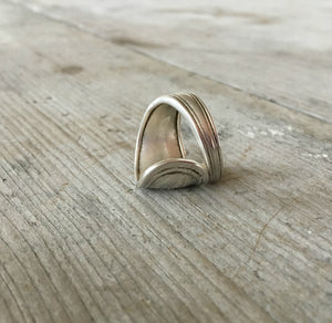 Sterling Silver spoon ring standing on end
