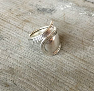 Sterling Silver Coil Wrap Spoon Ring Size 8