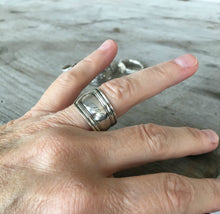 Sterling Silver Spoon Ring Made from Baby Fork Monogram Lois shown on  model hand