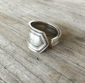 Alternate view of Sterling Silver Spoon Ring Made from Baby Fork Monogram Lois
