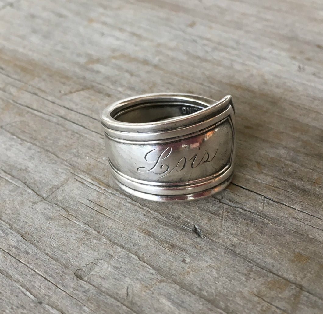 Sterling Silver Spoon Ring Made from Baby Fork Monogram Lois