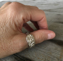 Sterling Silver Spoon Ring From Demi Tasse Spoon wit Floral Relief Size 11 Shown On Model