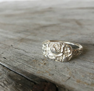 Sterling Silver Spoon Ring From Repousse Demi Tass Spoon