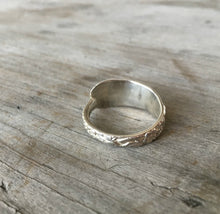 Sterling Silver Spoon Ring From Demi Tasse Spoon wit Floral Relief