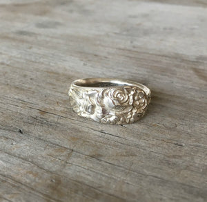 Sterling Silver Spoon Ring From Demi Tasse Spoon wit Floral Relief Size 11