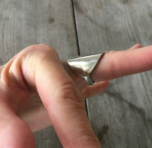 Sterling Whole Spoon Cuff Ring Shown on Finger