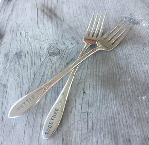 Handstamped mismatched set wedding cake forks that read better together
