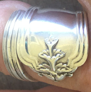 Sterling Spoon Ring Coil Wrap Duchess Close Up of Relief Design
