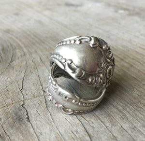 Pair of Spoon Rings from Antique Spoon William A. Rogers Carlton 1898 nested upon one another