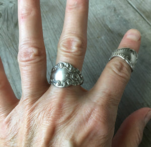 Spoon Ring from Antique Spoon William A. Rogers Carlton 1898 Shown on Model's Hand