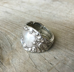 Spoon Ring from Antique Spoon Handle Angle 1