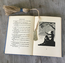 Hand Stamped SPoon Bookmark with Tassel Wish Upon a Star Shown in Book