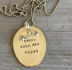 Jesus Take the Wheel Stamped Spoon Necklace