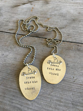 Upcycled spoon necklace handstamped with Jesus take the wheel