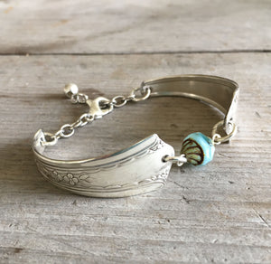 Upcycled Silverware Jewelry Spoon bracelet with bead
