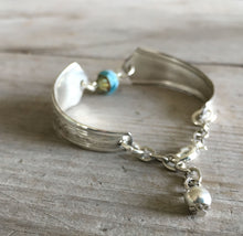 Handmade Spoon Bracelet Featuring Aqua Blue Czech Glass Bead