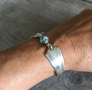 Spoon Bracelet with Glass bead on Model