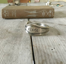 Spoon cuff bracelet handstamped PEACE