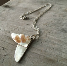 Upcycled Silverware Spoon Artisan Necklace with Cultured Pearl Beads
