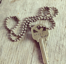 Stamped Key Necklace - LOVE RULES - #3466