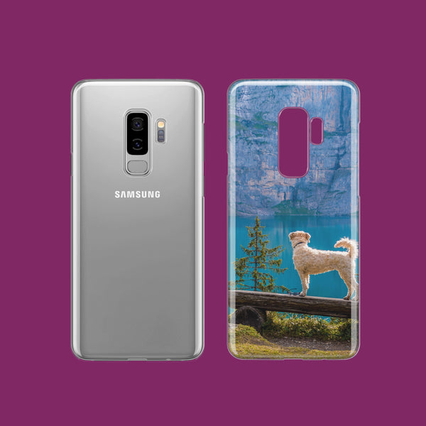 Custom Samsung Galaxy Phone Cases, dog on bench overlooking lake
