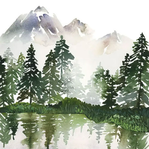 Evergreens on Lake Art Print from Yao Cheng