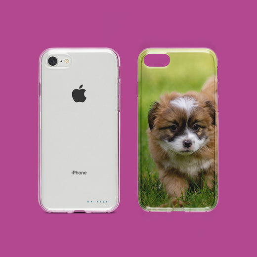 Custom iPhone case, puppy on lawn