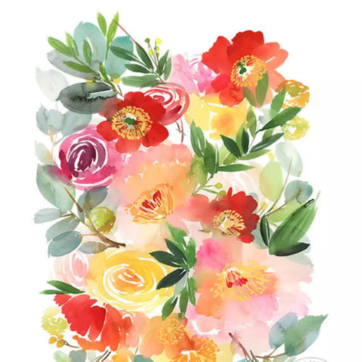 Peonies & Poppies Alike Watercolor Archival Wall Art Print, Yao Cheng without frame