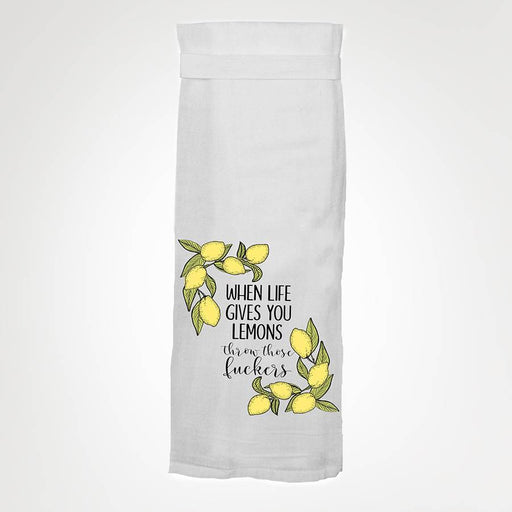 When Life Gives Lemons Throw Those Fuckers Funny Kitchen Towel by Twisted Wares