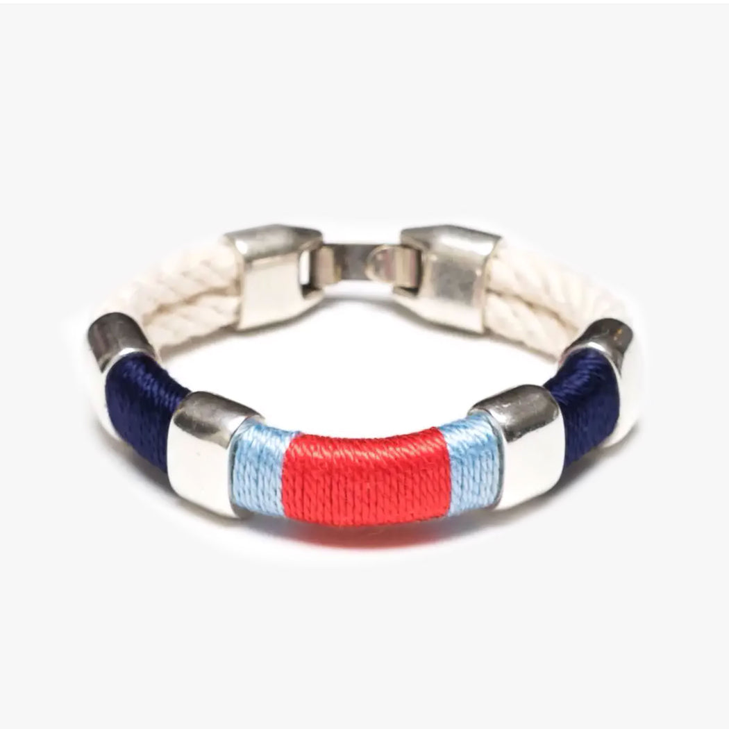 Newbury Bracelet For Women, Ivory/Navy/Blue/Coral/Silver by Allison Cole Jewelry