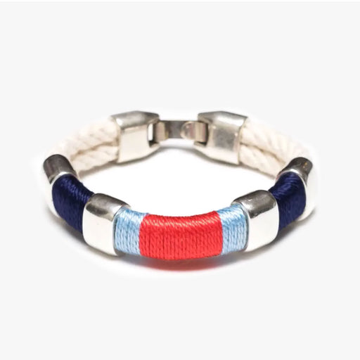 Newbury Bracelet For Women - Ivory/Navy/Blue/Coral/Silver by Allison Cole Jewelry - Tiny Quail