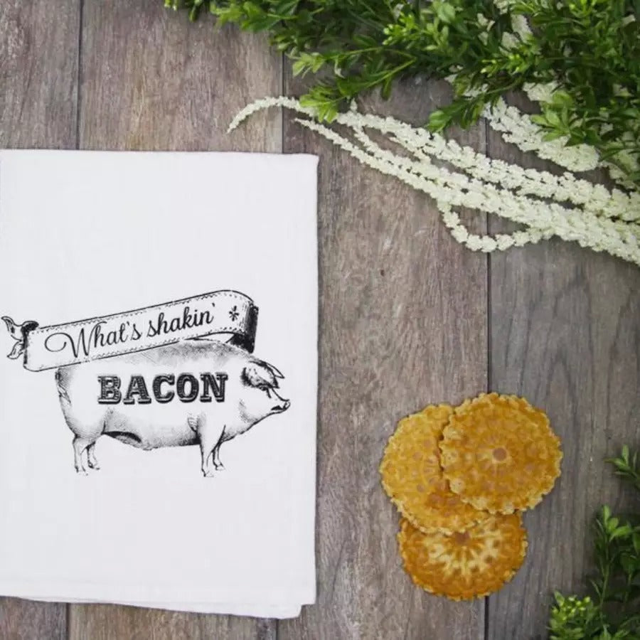 What's Shakin' Bacon Kitchen Towel From The Coin Laundry
