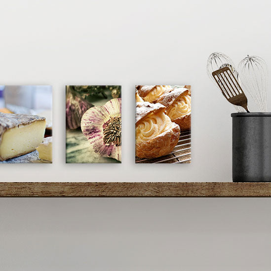 "Row of three 5"" x 7"" Baked Goods Photos on Glass from Tiny Quail"